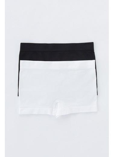Penti Siyah - Beyaz Teen Seamless Basic 2Li Boxer Siyah